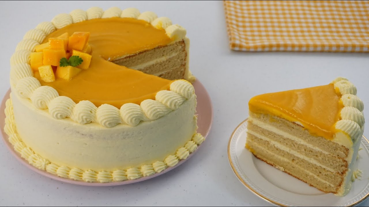 Mango Cake With Easy Frosting Recipe (No Whipping Cream) - YouTube