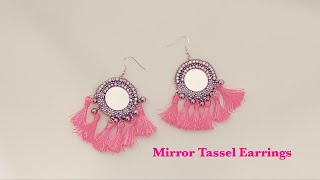 Making Beautiful Pink Mirror Tassel Earrings  Mirror Earrings  Latest Trending Earrings  Handmade