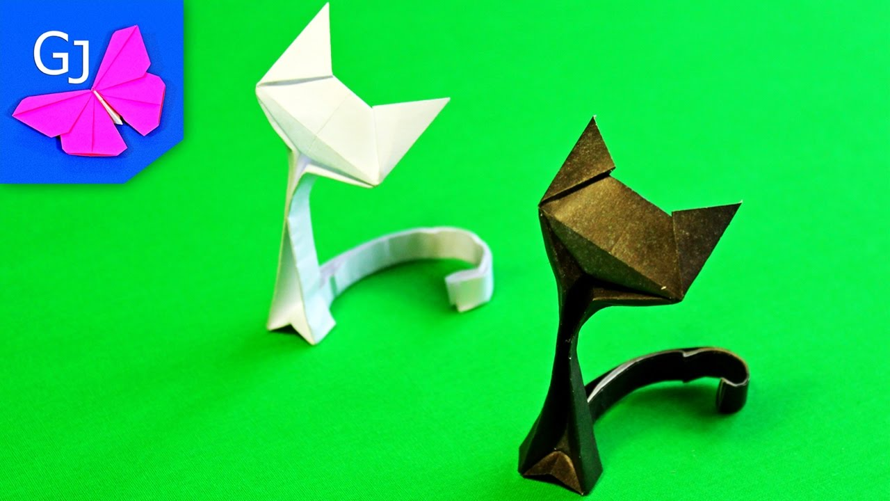 оригами фигуры из бумаги котёнок схема
