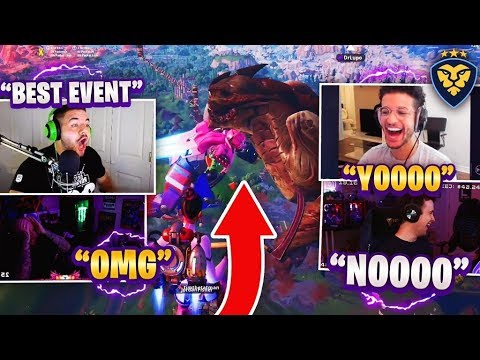STREAMERS REACT TO THE MONSTER VS MECH EVENT! (Fortnite: Battle Royale) thumbnail