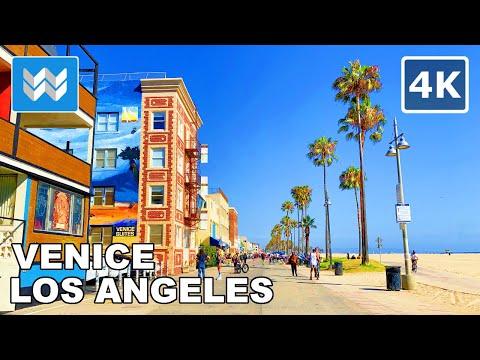Walking From Venice Beach To Santa Monica Beach In Los Angeles, California 2020 Travel Guide 🎧 【4K】