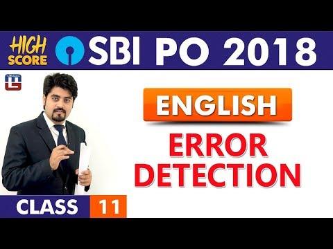 Error Detection | English | Class 11 | High Score | SBI PO 2018 | 9:00 am