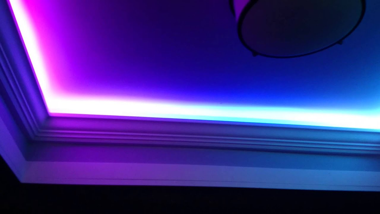 led crazy lights in a tray ceiling - YouTube
