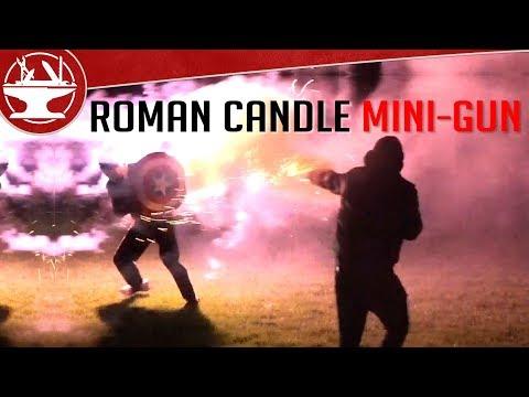 Roman Candle Minigun VS Captain America Shield