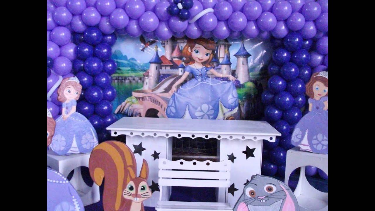 decoraç u00e3o princesa sofia simples no provençal YouTube -> Decoração De Aniversário Princesa Sofia