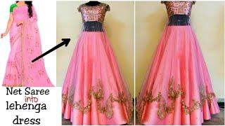 Diy Convert Old Net Saree Fabric Into Ruffle Dress Long Gown Dress Youtube