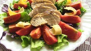САЛАТ ИТАЛЬЯНСКИЙ .Салат с куриной грудкой и помидорами.