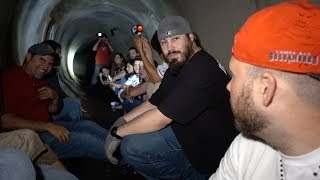 exploring haunted tunnel with fans fams