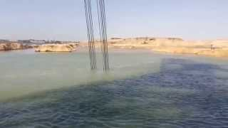 New Suez Canal: the new channel dredging in the entrance area Deversoir
