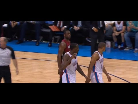 Dwyane Wade Gives Kendrick Perkins Death Stare Down After Being Kicked [3.25.2012]