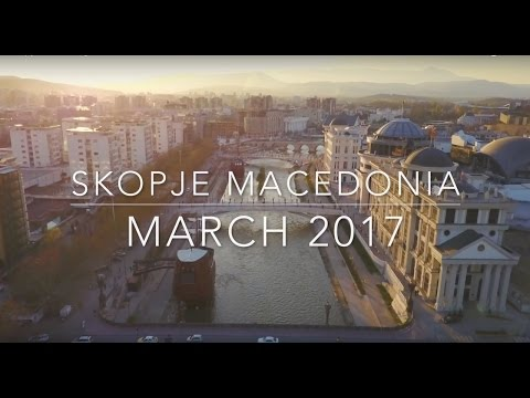 Above Skopje capital of Macedonia - Drone Flight March 2017