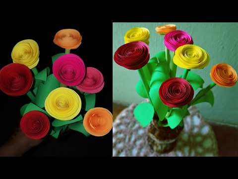 How to make a beautiful Rose paper flower || DIY paper flowers craft