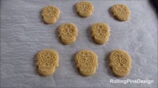 Sugar Skull Cookies Recipe by RollingPinsDesign with engraved rolling pin