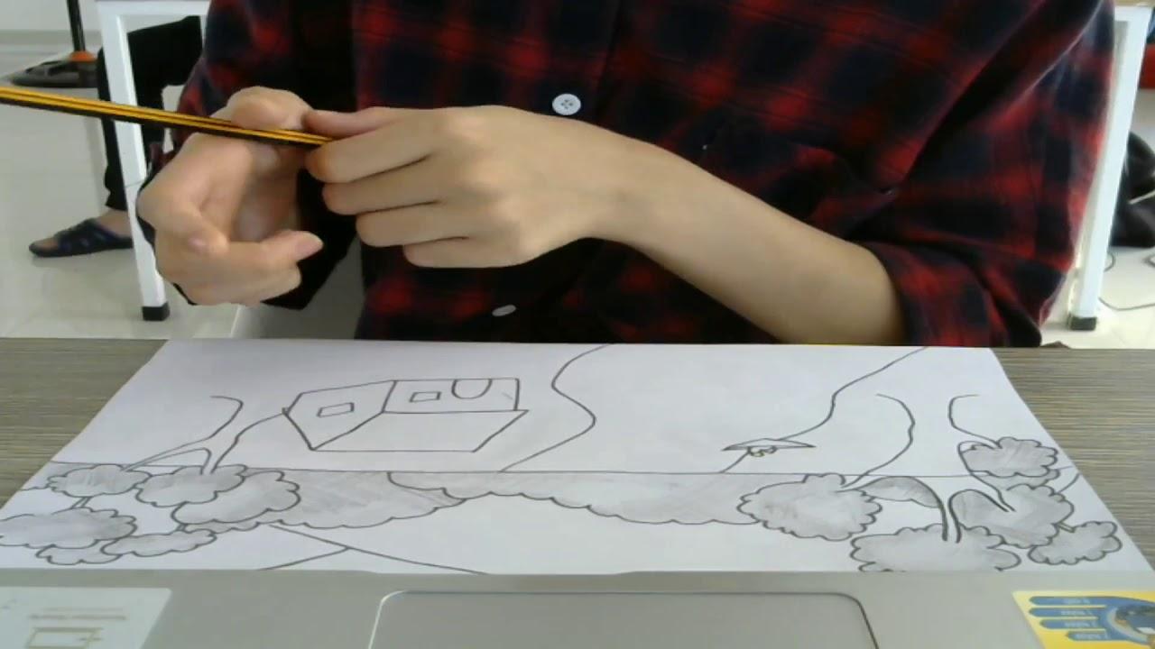 Hướng dẫn vẽ một bức tranh núi nước bằng bút chì