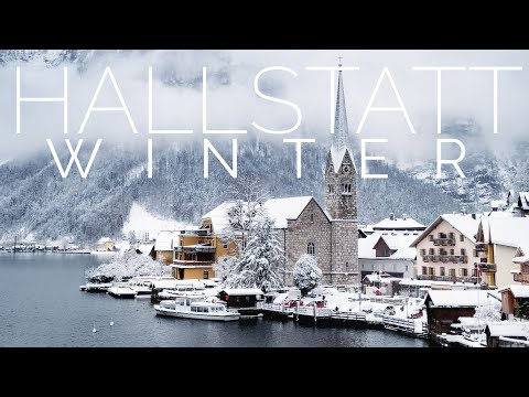 AUSTRIA & Piano Relaxing Music - HALLSTATT VILLAGE AUSTRIA | Winter in Europe., 4K Quality & Sound