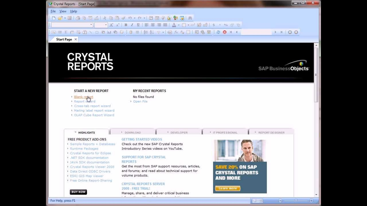 Download and install crystal reports for visual studio 2010.