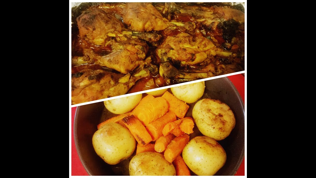 Oven Baked Chicken Legs Drumsticks And Potatoes With Carrots