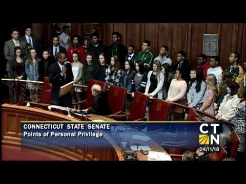 State Senator George Logan welcomes Hamden High School Athletes to the State Capitol 4 11 18