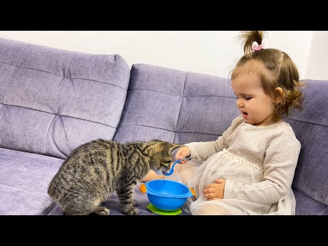 Cute Baby Funny Feeds a Kitten with a Spoon! [TRY NOT TO LAUGH]