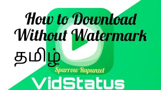 How to Download Vidstatus videos without Watermark  in Tamil - Sparrow Rapunzel