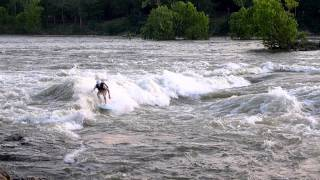 Surfer rides Whitewater Wave in Columbus GA!