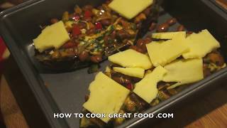 Stuffed Mexican Style Eggplants Recipe - Aubergine Vegetarian