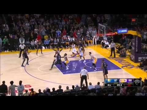 Roy Hibbert game winning shot attempt hits the top of the backboard Pacers-Lakers (1-4-15)
