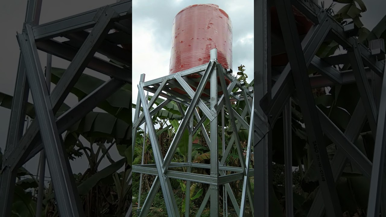Tower Tangki Air 1000 Ltr Dengan Baja Ringan Youtube
