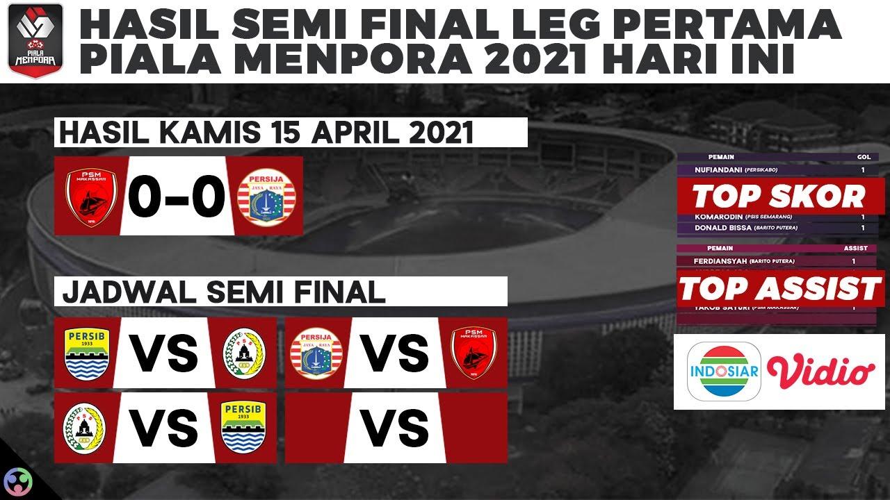 Hasil Piala Menpora 2021 Semi Final - PSM vs Persija Jakarta 0-0 dan Jadwal Hari Ini Persib vs PSS