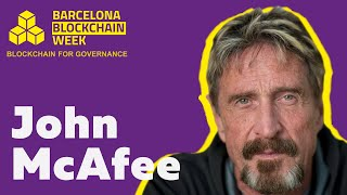John McAfee gives speech at the Barcelona Blockchain Week 2019
