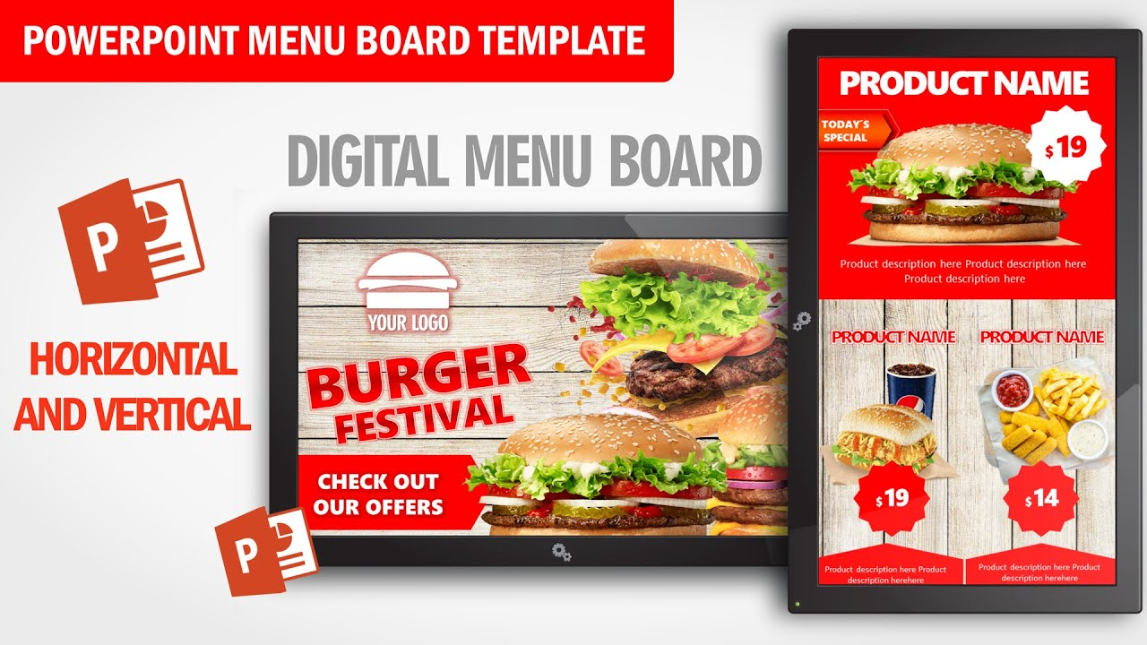Burger Festival Digital Signage Powerpoint Template Restaurant And Cafeteria Food Menu Board