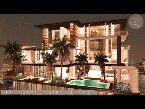Big Luxury Penthouse Villa (No CC) Sims 4 Stop Motion Build & Interior