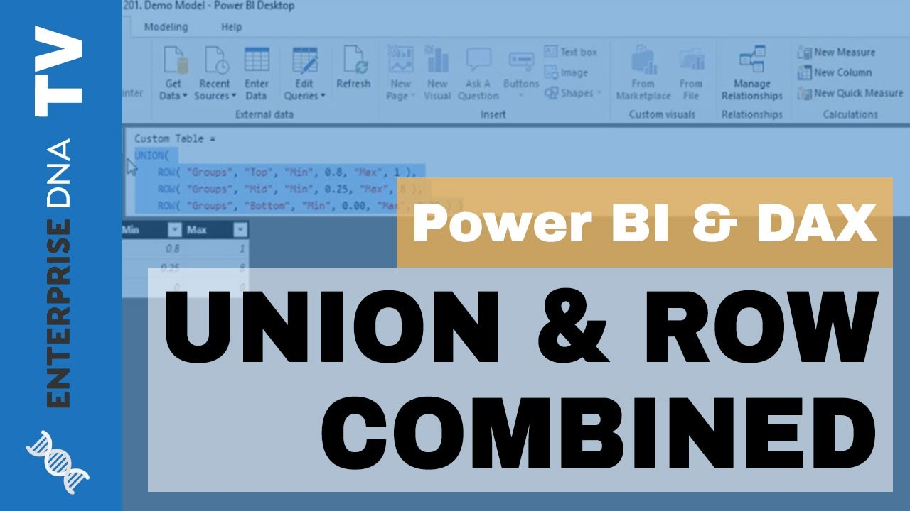 How To Create Tables Combining UNION & ROW Function - Power BI & DAX