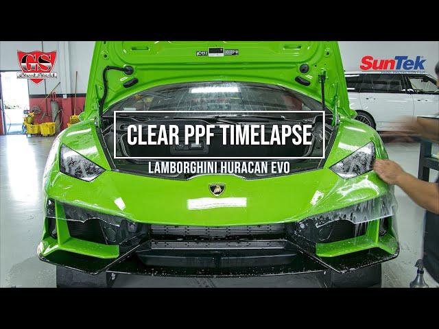 Suntek PPF Clear Bra Time-lapse on Lamborghini Huracan Evo Full Car Clear Wrap Paint Protection Film