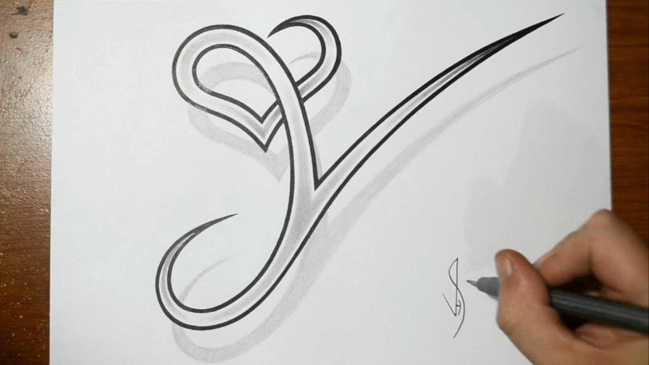 Drawing Letter Y With Heart Combined Cool Tattoo Design Idea Youtube