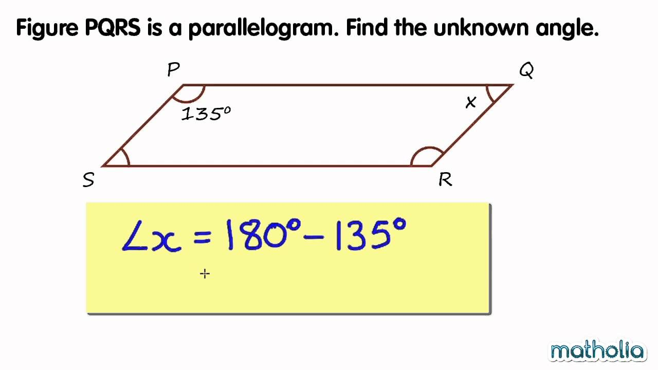 Finding Unknown Angles In A Parallelogram