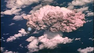 Shock wave curls outwards due to nuclear bomb blast at Bikini Atoll, Micronesian ...HD Stock Footage