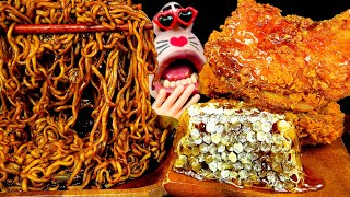 ASMR MUKBANG :) Honeycomb Fried Chicken & Black Bean Noodles Eating Show!