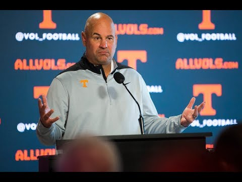 Jeremy Pruitt holds addresses the media during Vols' bye week