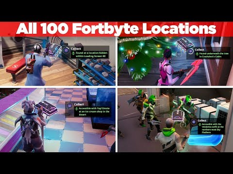 ALL FORTBYTE LOCATIONS GUIDE - Fortnite Season 9 (100 Fortbytes)