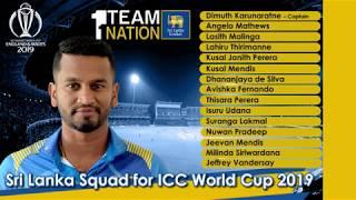 Sri Lanka squad for ICC Cricket World Cup 2019