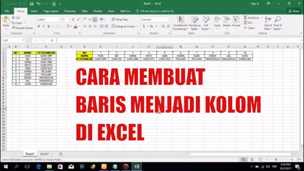 CARA MERUBAH DATA BARIS MENJADI KOLOM DI MICROSFT EXCEL - YouTube
