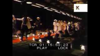Late 1970s Fashion Show, Chiffon Dresses, Floppy Hats, Dog on Catwalk