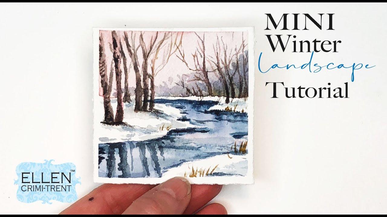 Mini Winter ❄️ Landscape Watercolor Tutorial