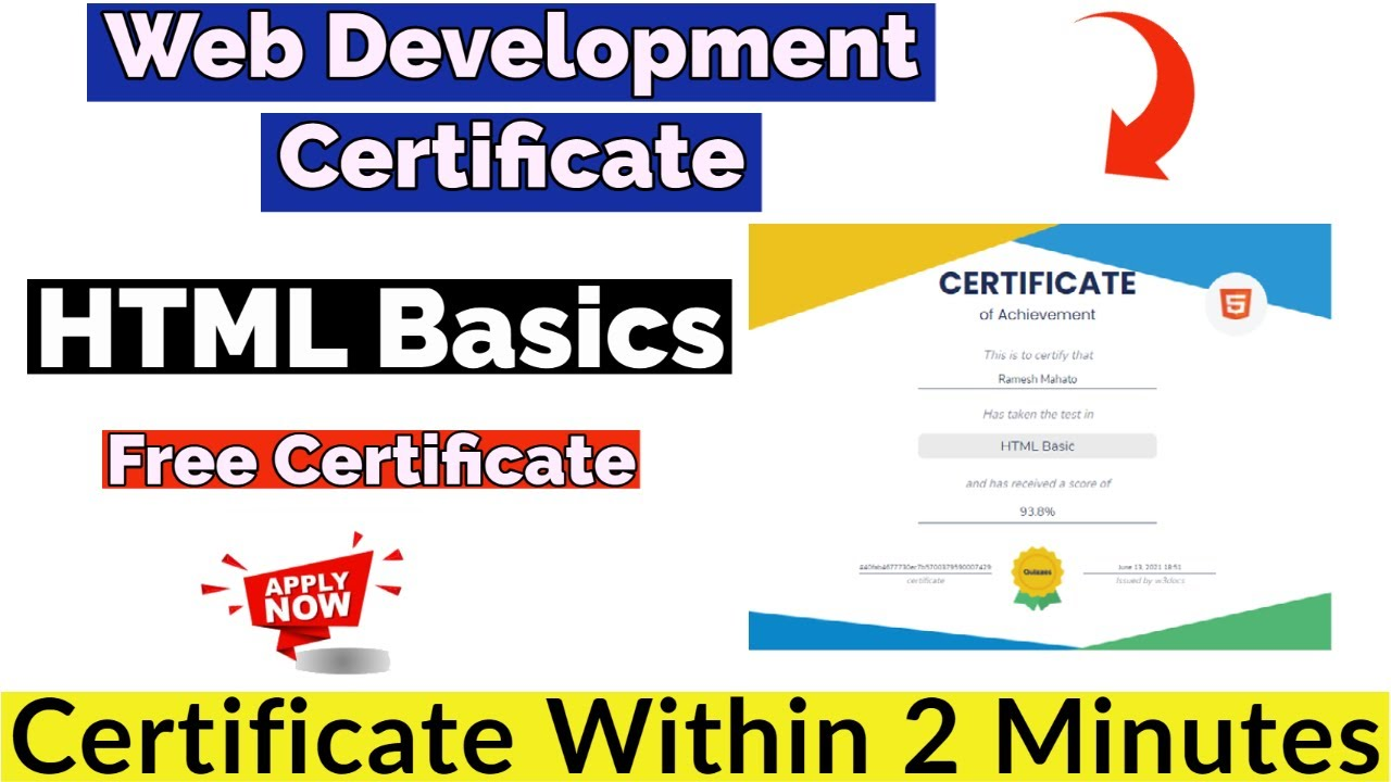 Web Development Free Course With Free Certificate   HTML Basics ...