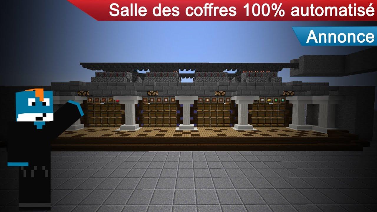 minecraft annonce futur tuto pour salle des coffres 100 automatis youtube. Black Bedroom Furniture Sets. Home Design Ideas