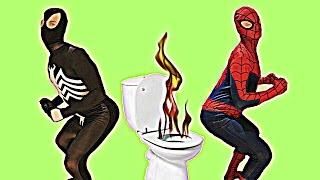 superhero toilet prank black spiderman vs ultimate spiderman in real life   funny poop scene
