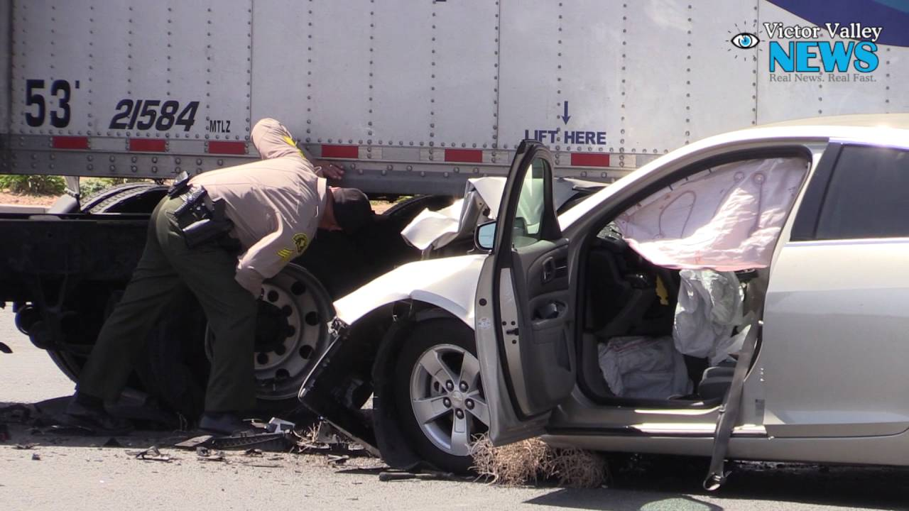 Three Airlifted in Vehicle vs  Semi Crash on Highway 395