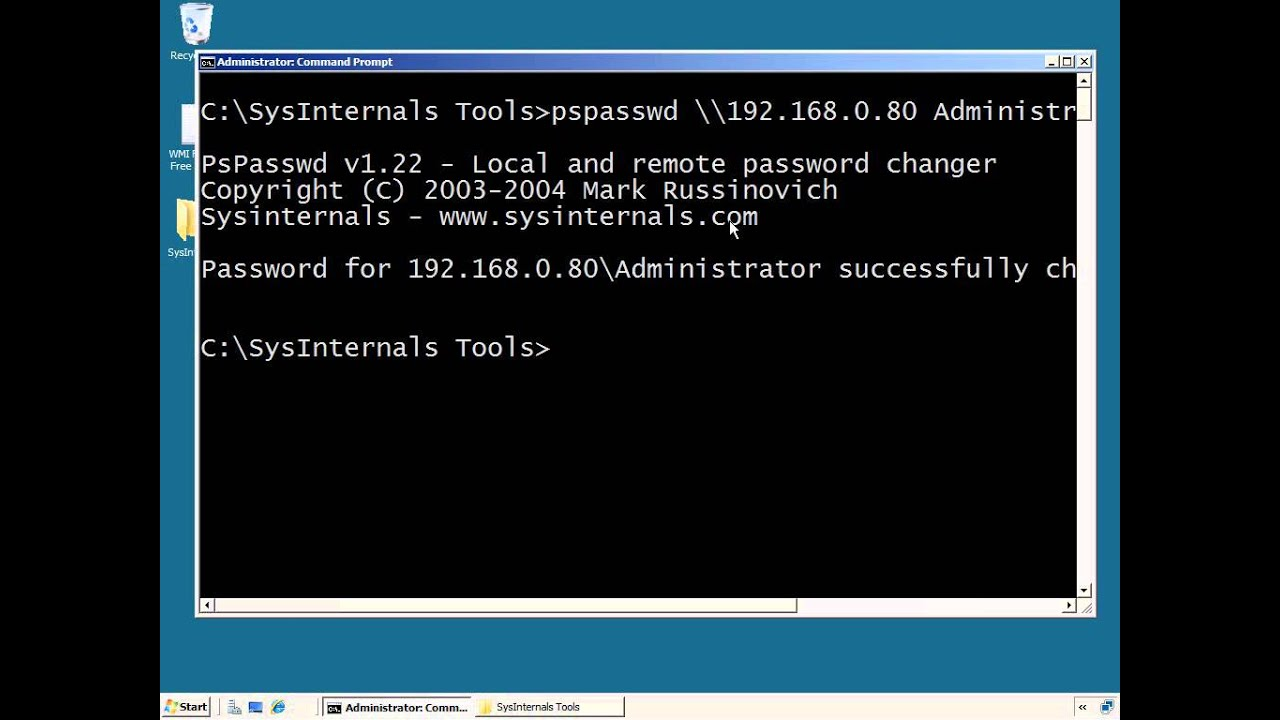 Sysinternals PSTools: Reset the Local Administrator Password