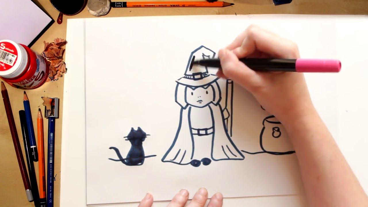 Como dibujar una bruja dibujos de halloween para ni os youtube - Como pintar a una nina de bruja para halloween ...
